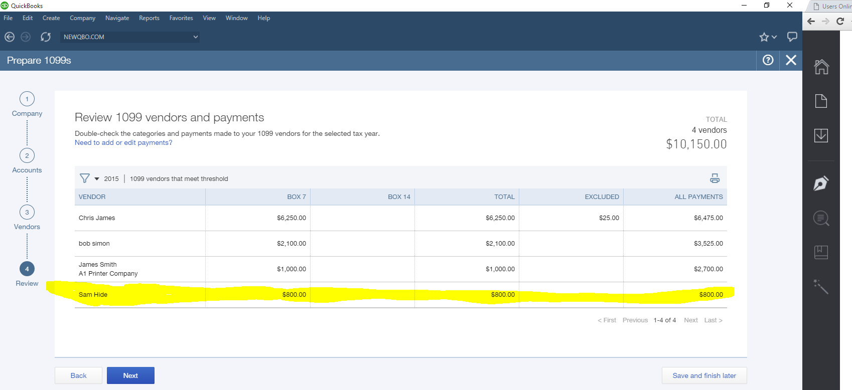 review 1099 vendors payments