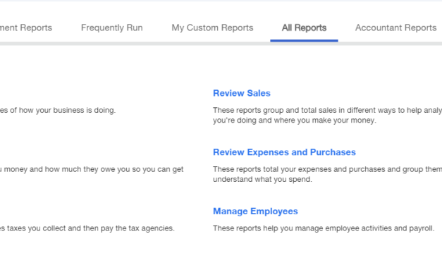 What are the specific reports available with the Simple Start version of Quickbooks Online