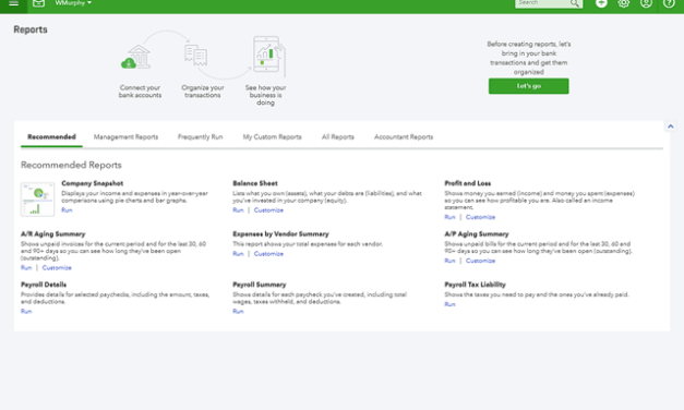 New QBO Reports Page from QuickBooks Labs