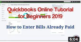Quickbooks Online – How to Enter Bills Already Paid