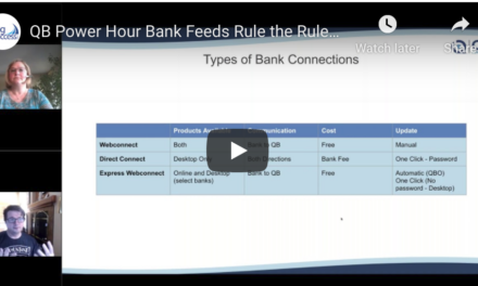 QB Power Hour Bank Feeds Rule the Rules Online and Desktop